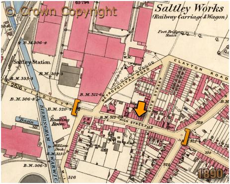 Birmingham : Map Showing High Street Saltley [1890]