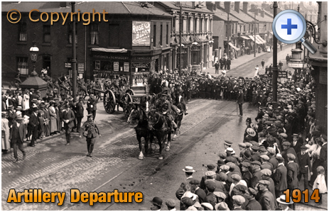 Birmingham : Warwickshire Royal Garrison Artillery departing for their station [August 1914]