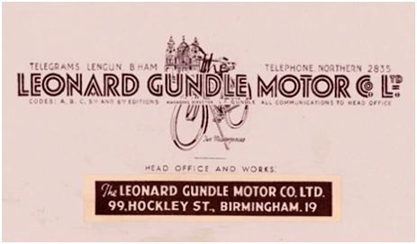 Birmingham : Letterhead of Leonard Gundle Motor Co. Ltd. of Hockley Street