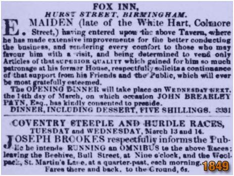 Birmingham : Arrival of Emmanuel Maiden at the Fox Inn on Hurst Street [1849]