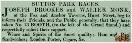 Birmingham : Joseph Brookes and Walter Monk with Booth Bar at Sutton Races [1845]