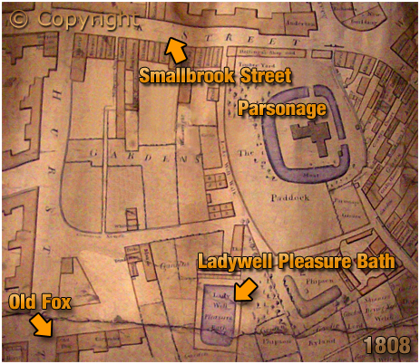 Birmingham : Map showing the location of the Old Fox on the corner of Inge Street and Hurst Street [1808]