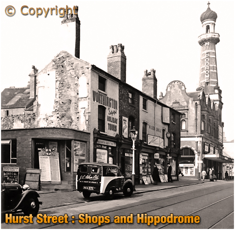 Birmingham : Post-War View of Shops and The Hippodrome in Hurst Street