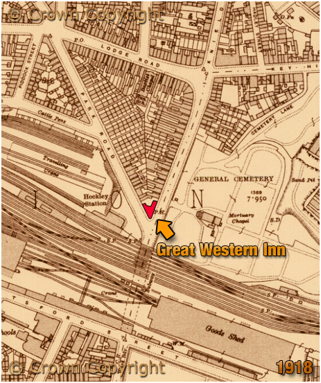 Birmingham : Map showing the location of the Great Western Inn on the corner of Icknield Street and Park Road at Hockley [1918]