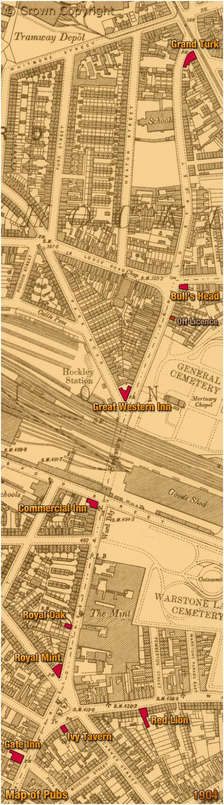 Birmingham : Map of Pubs in Icknield Street in Hockley [1904]