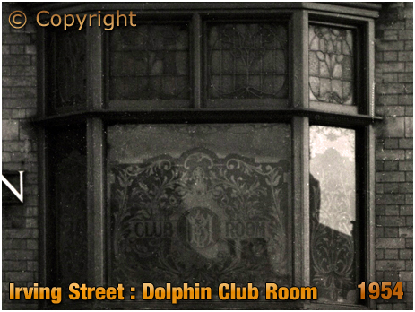 Birmingham : Window of the Club Room at The Dolphin on Irving Street at Lee Bank [1954]