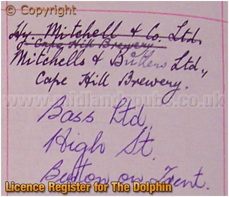 Birmingham : Licence Register for The Dolphin on Irving Street at Lee Bank