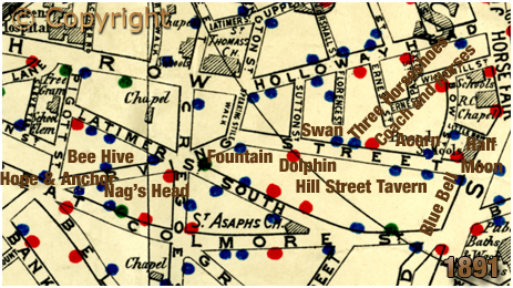 Birmingham : Map showing licensed houses in Irving Street at Lee Bank [1891]
