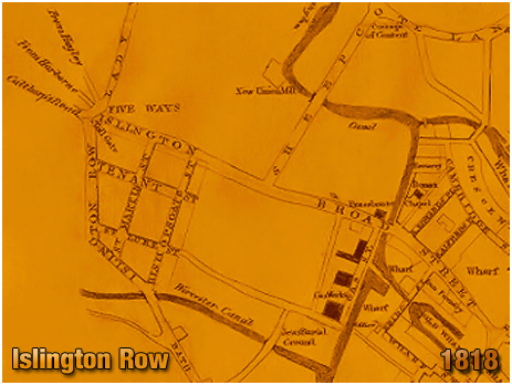 Birmingham : Islington Row on Pye's Map in 'A Description of Modern Birmingham' [1818]