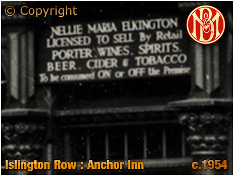 Birmingham : Licensee's Name Plate of the Anchor Inn on the corner of Islington Row and Tennant Street at Edgbaston [c.1954]