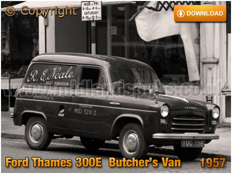 Birmingham : Ford Thames 300E Butcher's Van on Islington Row in Edgbaston [1957]