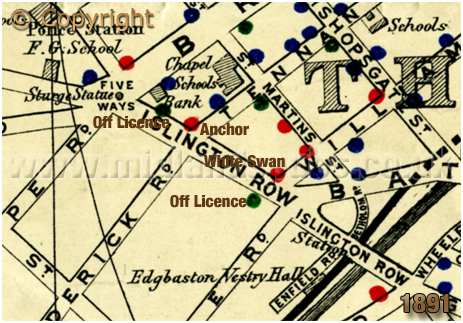 Birmingham : Map showing licensed houses in Islington Row at Edgbaston [1891]