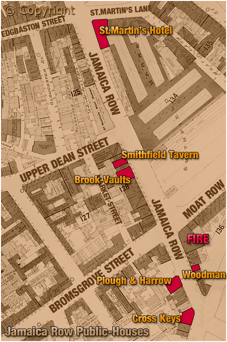 Birmingham : Map showing locations of public-houses in Jamaica Row