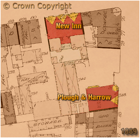 Birmingham : Plan showing the Plough and Harrow on Jamaica Row and the New Inn on Bromsgrove Street [1889]