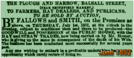Birmingham : Notice for an auction of the Plough and Harrow in Balsall Street [1852]