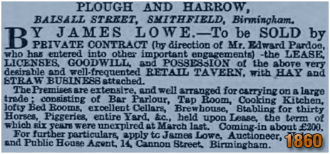 Birmingham : Notice for a sale of the Plough and Harrow in Balsall Street [1860]