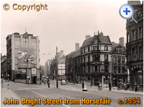 Suffolk Street and John Bright Street from Horsefair in Birmingham [c.1954]