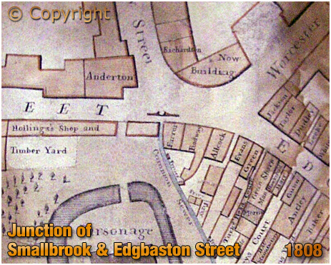 Birmingham : Junction of Smallbrook Street and Edgbaston Street [1808]