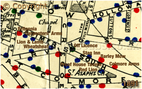Birmingham : Map showing licensed houses in Latimer Street at Lee Bank [1891]