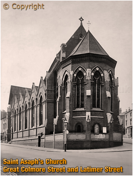 Birmingham : Saint Asaph's Church on the corner of Latimer Street and Great Colmore Street at Lee Bank [c.1950]