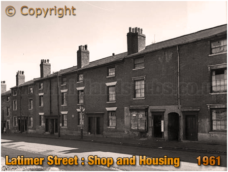 Birmingham : Shop and Housing in Latimer Street at Lee Bank [1961]