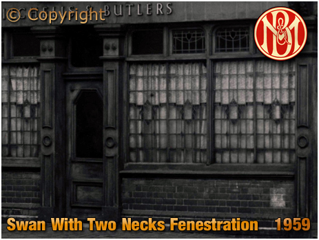 Birmingham : Fenestration at The Swan With Two Necks on the corner of Lawley Street and Great Brook Street in Duddeston [1959]