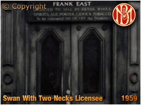 Birmingham : Licensee Name Plate at The Swan With Two Necks on the corner of Lawley Street and Great Brook Street in Duddeston [1959]