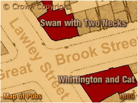 Map showing the location of the Swan With Two Necks on the corner of Lawley Street and Great Brook Street at Duddeston in Birmingham [1889]
