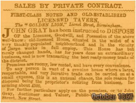 Birmingham : Sale of the Golden Lion on Lionel Street [1867]