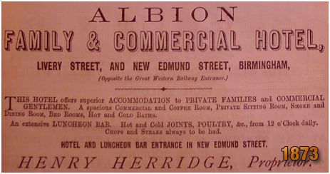Birmingham : Advertisement for the Albion Hotel on the corner on the corner of Livery Street and Edmund Street [1873]