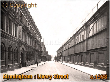 Birmingham : Livery Street with Dunlop Works and Snow Hill Railway Station [c.1938]