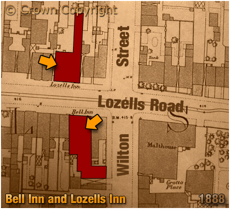 Birmingham : Map showing the locations of the Bell Inn and Lozells Inn on Lozells Road at Handsworth [1888]