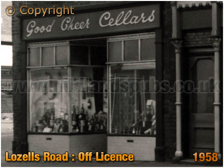 Birmingham : Off-Licence adjoining the Bell Inn on Lozells Road at Handsworth [c.1958]
