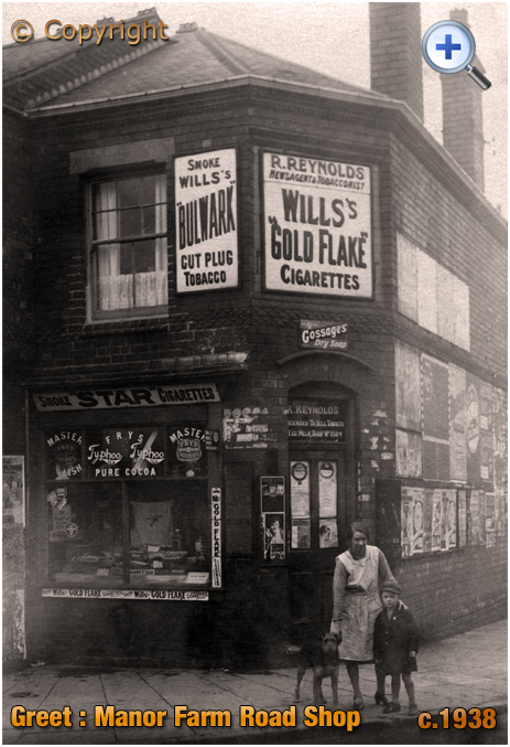 Birmingham : Grocery Shop on the corner of Manor Farm Road and Roma Road in Greet [c.1938]