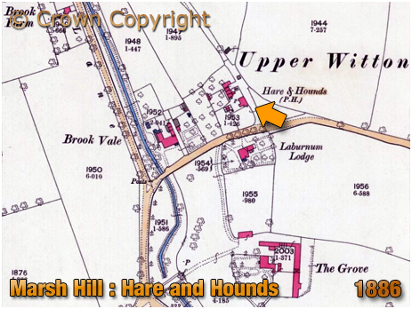 Map showing the location of the Hare and Hounds at Marsh Hill in Erdington [1888]