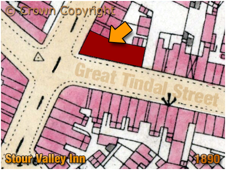 Map showing the location of the Stour Valley Inn on the corner of Monument Road and Great Tindal Street at Ladywood in Birmingham [1890]