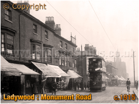 Birmingham : Tram and Shops on Monument Road in Ladywood [c.1915]