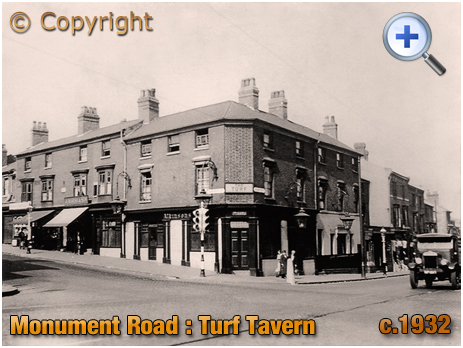 The Turf Tavern on the corner of Monument Road and Spring Hill at Brookfields in Birmingham [c.1932]