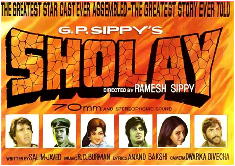 "Bollywood Film Poster for ""Sholay"" [1975]"