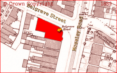Plan Showing Site of the Belgave Hotel on the Corner of Belgrave Street and Moseley Road in Birmingham [1889]
