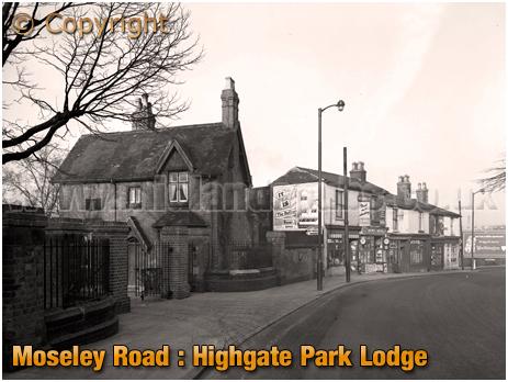 Birmingham : Highgate Park Lodge and Shops on Moseley Road at Highgate [1958]