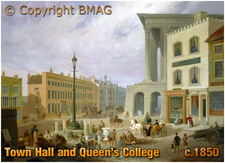 Birmingham Town Hall and Queen's College viewed from Ann Street [c.1850]