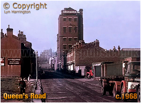 Queen's Road with Atkinson's Brewery in Aston [c.1968]