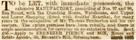 Advertisement for the site of the Coppersmiths' Arms in Rea Street in Digbeth [1866]