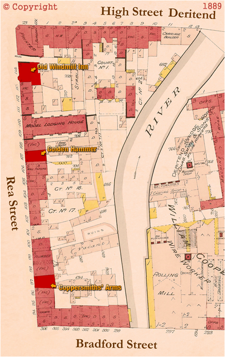Plan Showing the location of the Coppersmiths' Arms, along with the Old Windmill Inn and Golden Hammer in Rea Street [1889]