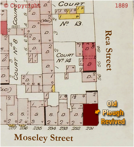 Plan Showing the location of the Old Plough Revived on the corner of Rea Street and Moseley Street [1889]