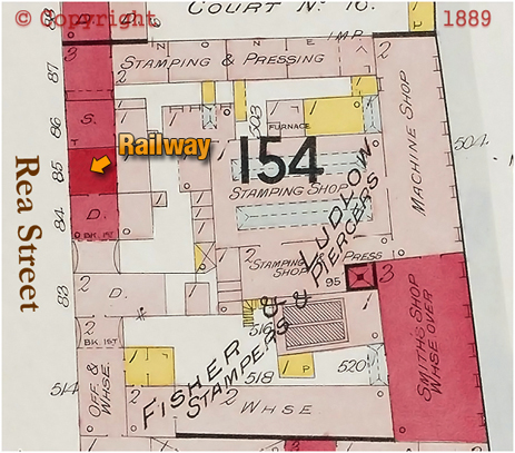 Plan Showing the location of the Railway on Rea Street in Digbeth [1889]