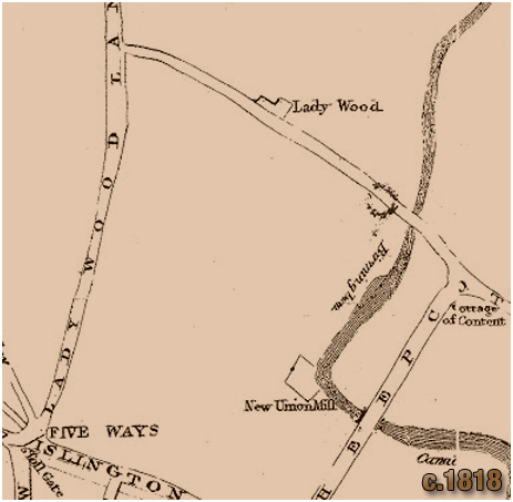 Birmingham : John Kempson map showing land owned by the Ryland family at Islington and Ladywood [c.1818]