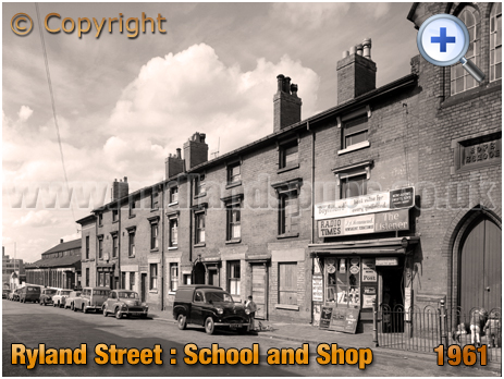 Birmingham : St. Barnabus' School for Boys and Newsagent's Shop in Ryland Street at Ladywood [1961]