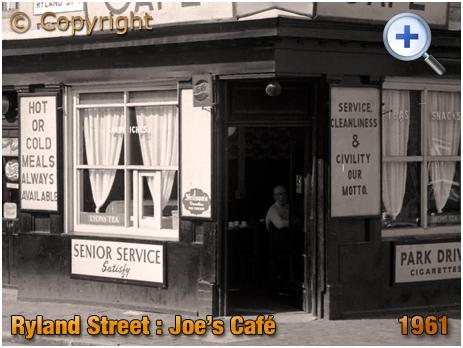 Birmingham : Customer in Joe's Café on the corner of Ryland Street and Grosvenor Street West at Ladywood [1961]